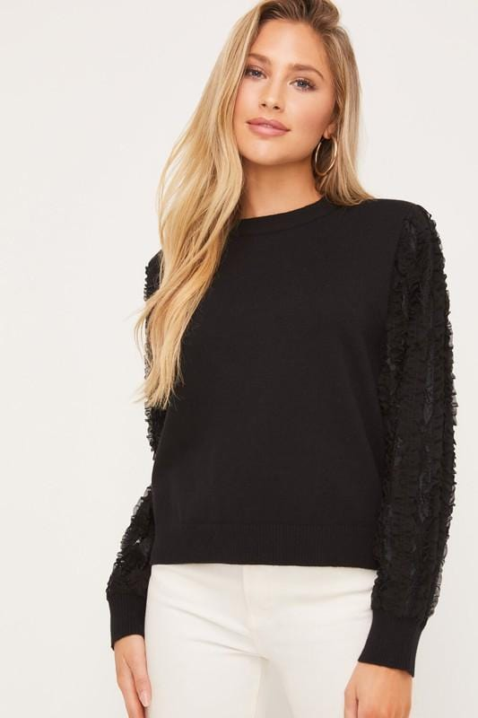 Frilly Ruffle Down Sleeve Sweater