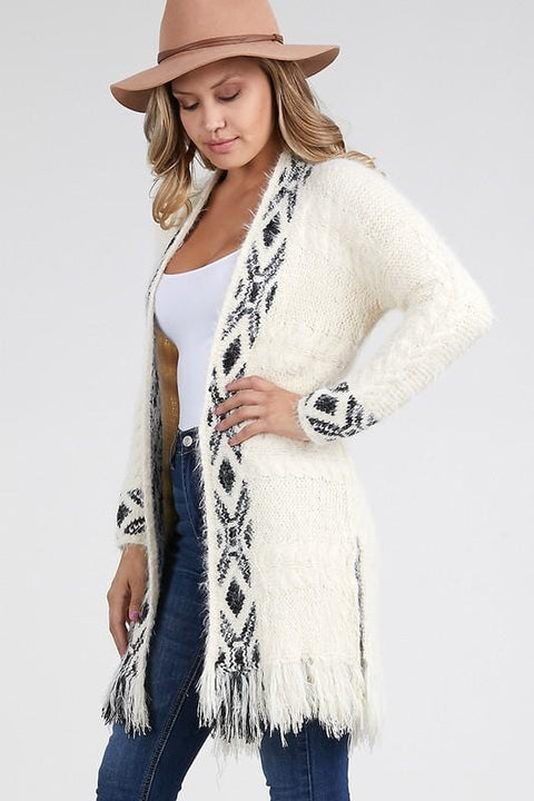 Fringe Tribal Pattern Open Cardigan