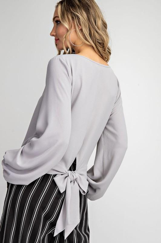 Grey Tie Back Chic Blouse