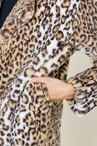 Faux Fur Leopard Print Soft Jacket