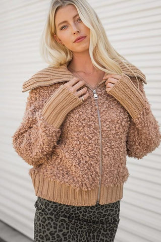 Honey Sherpa Lapel Zip up Jacket