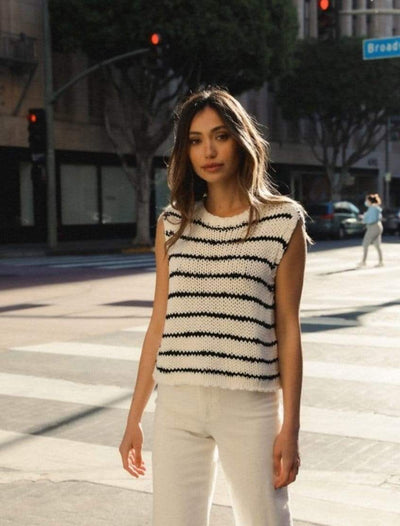 Black and White Knitted Tank