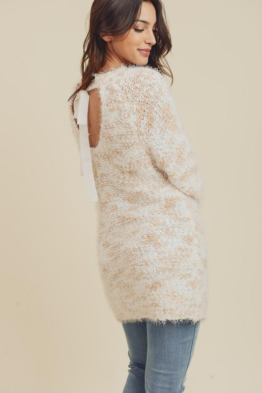 Ivory and Blush Knit Sweater with Ribbon Back