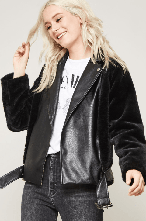 Faux Fur Leather Moto Jacket