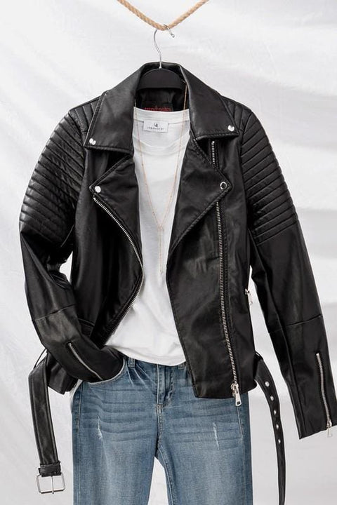 Faux Leather Biker Moto Jacket
