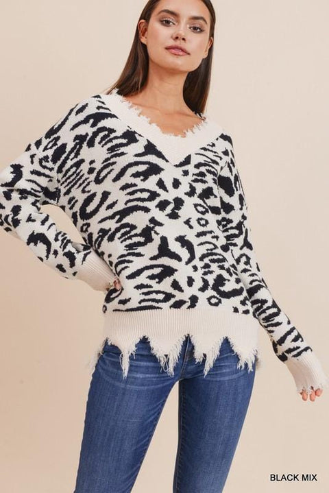 Animal Print Soft Fringe Bottom Sweater