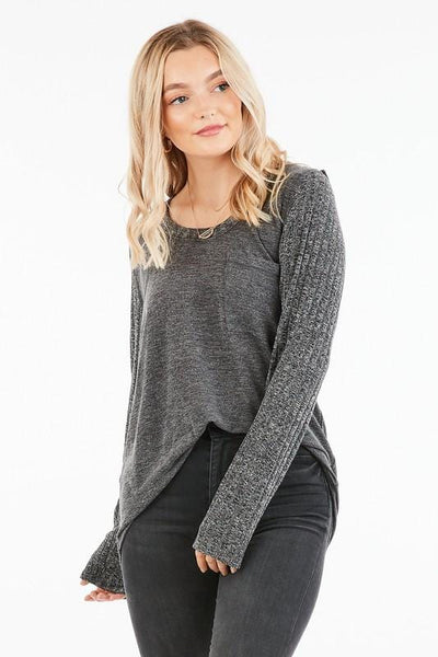Lightweight Knit Top with Ribbed Sleeves