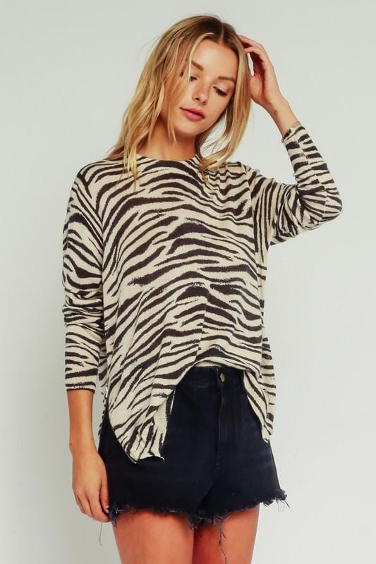 Lightweight Zebra Print Sweater with Side Zippers