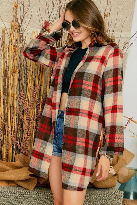 Long Red Plaid Top with Pockets