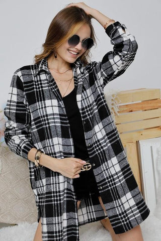 Long Black and White Plaid Top with Pockets