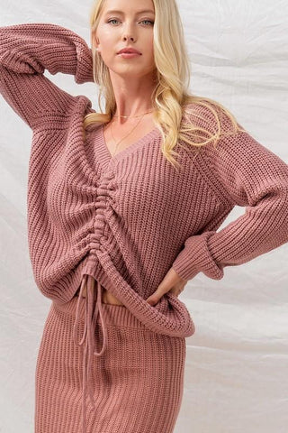 Mauve Raglan Knit Drawstring Cinch Sweater