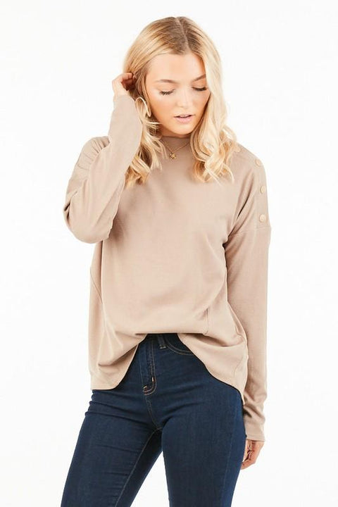 Mocha Top with Button Detail