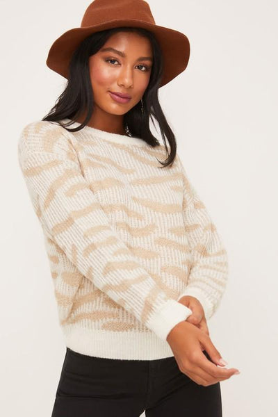 Neutral Creme Animal Print Sweater