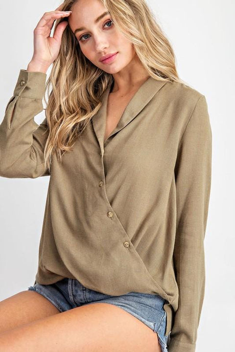 Olive Collared Long Sleeve Top