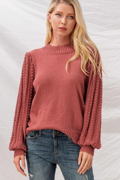 Popcorn Knit Puff Sleeve Ruby Top