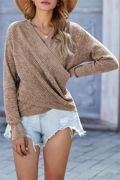 Ribbed V Neck Cross Front Sweater