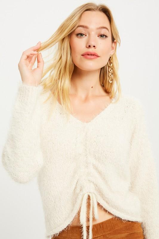 Ruched Detail Knit Soft Sweater - FEROSH CHICK