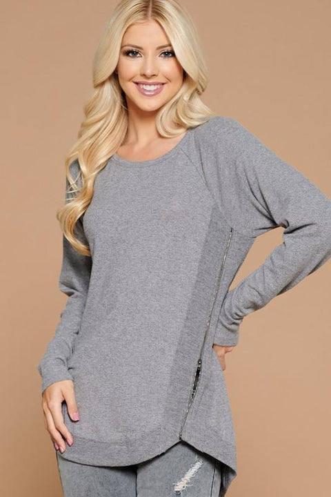 Side Zipper Knit Long Sleeve Top