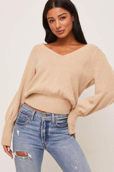 Taupe Puff Sleeve Sweater