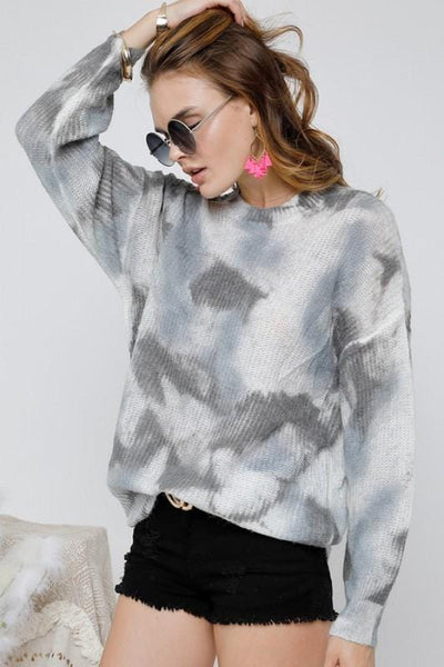 Tie Dye Knit Pullover in Blue and Grey