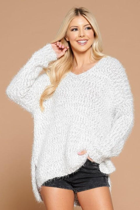 V Neck Fuzzy Ivory Knit Sweater