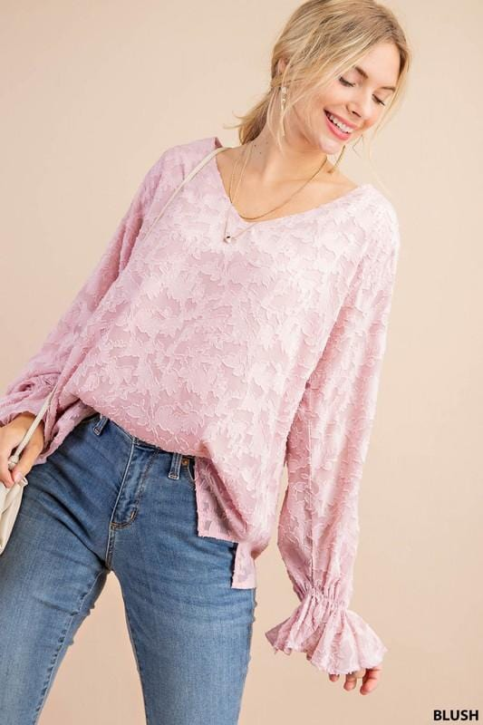 V Neck Smocked Sleeve Pattern Blouse