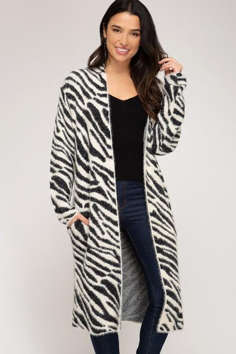 Soft Zebra Print Cardigan in Camel