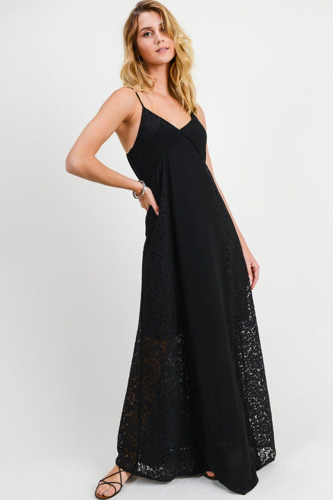 Black Lace Maxi Dress