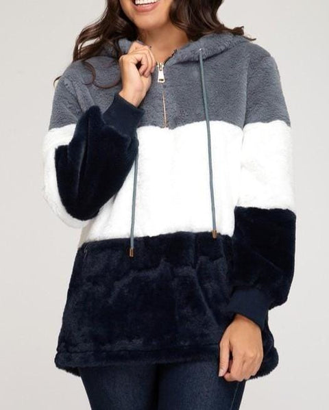ColorBlock Faux Fur Hoodie in Navy