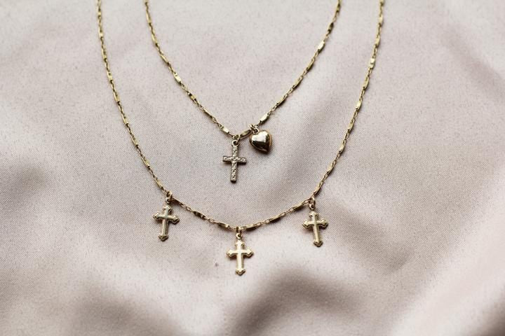 Marie Gold Cross Necklace