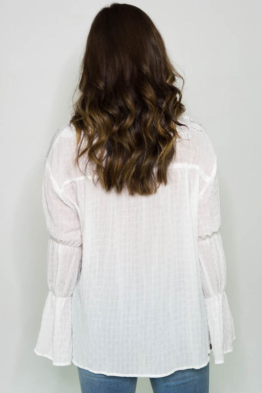 Solice Lace Peasant Top (Off White)
