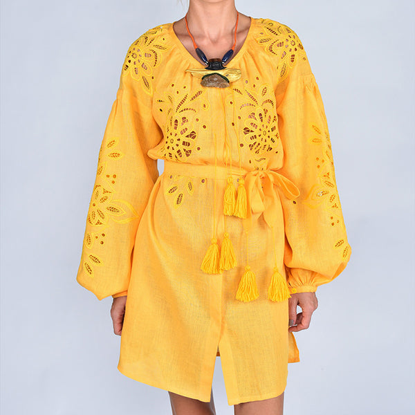 Yellow Embroidered 'Bea' Mini Dress