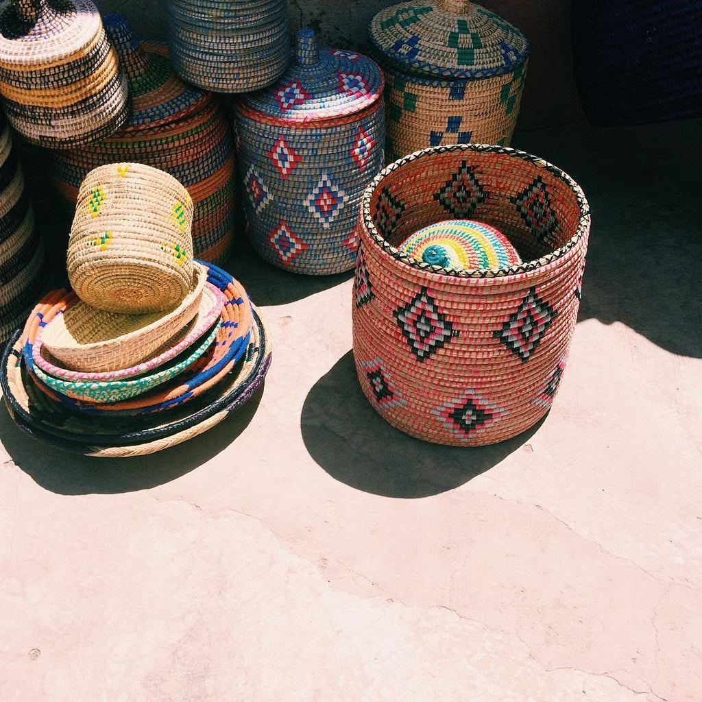 Small Green Moroccan Basket