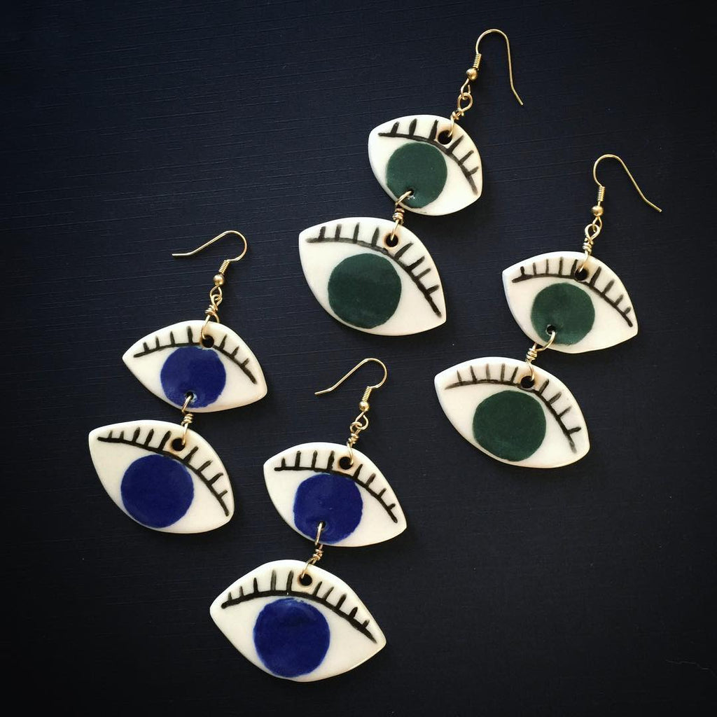 Blue & Gold Porcelain Quattrocchi Earrings