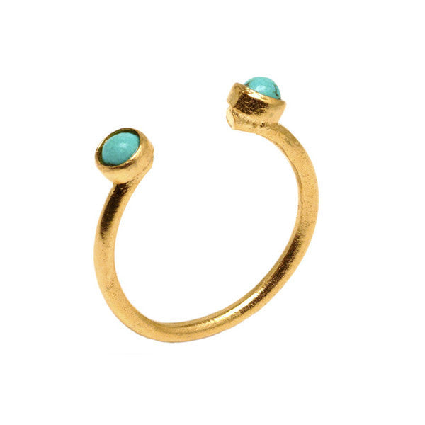 DEACTIVATED FOR API Turquoise and Gold Beyza Ring