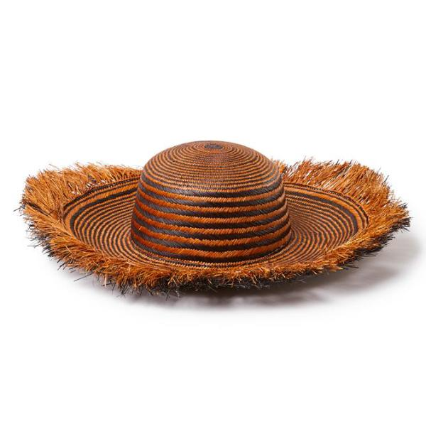 Brown & Black Straw Morea Hat