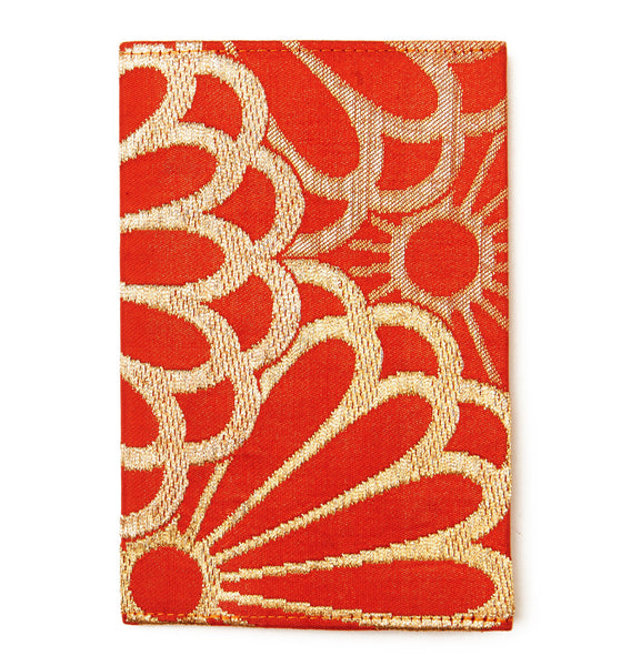 CHAKO, Orange Silk Flower Passport Holder