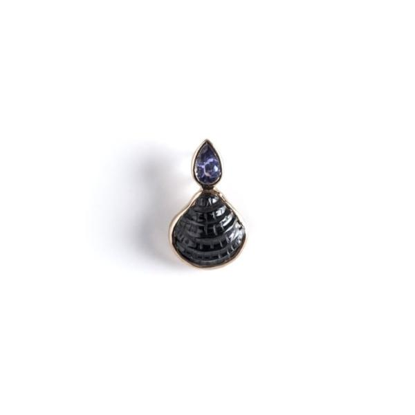 Petite Carved Chione with Pear Shape Tanzanite Charm