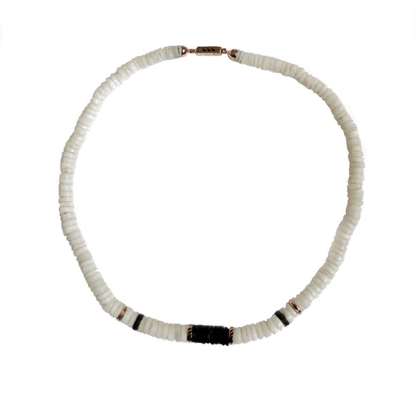 Classic White and Coco Shark Fin Puka Necklace