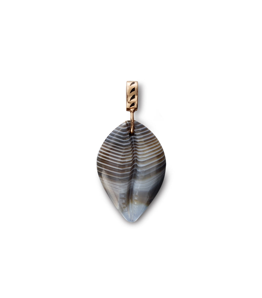Classic Line Agate Carved Cowry Shell Charm