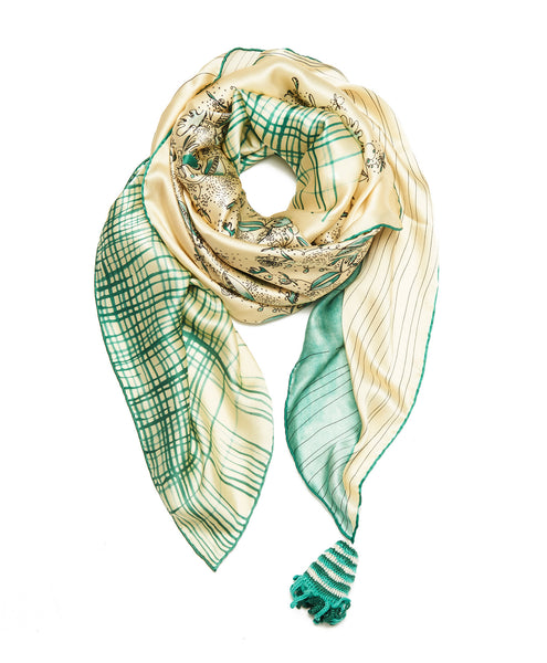 Cream And Green Silk A Gentleman's Florals Scarf