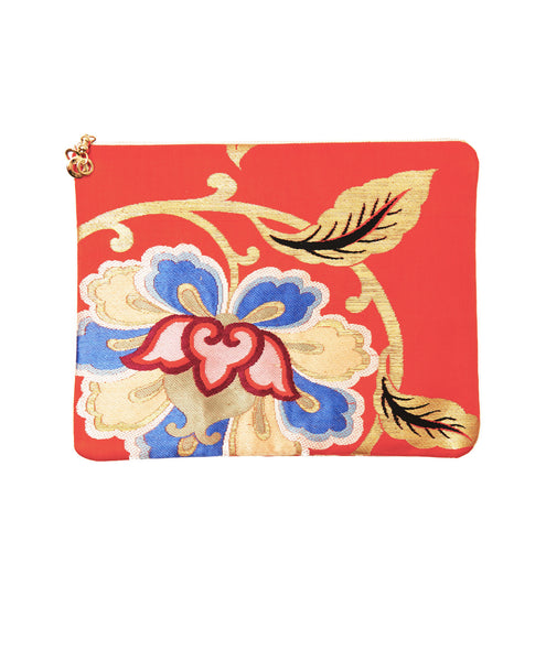 Orange Silk Floral Hanna iPad Clutch