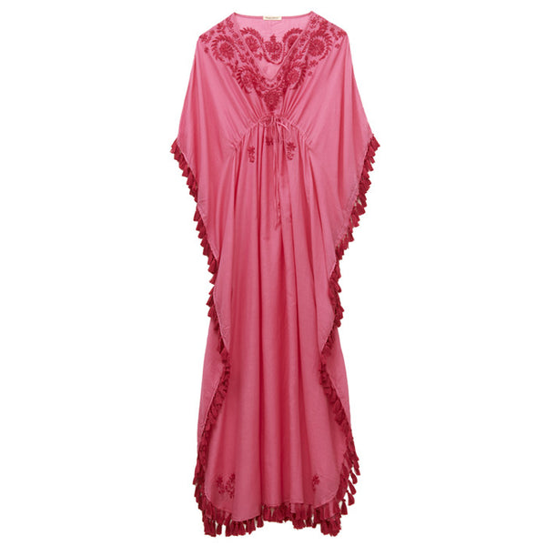Bright Pink Cotton Embroidered Caftan