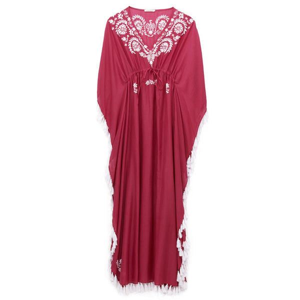 Raspberry Cotton Embroidered Caftan