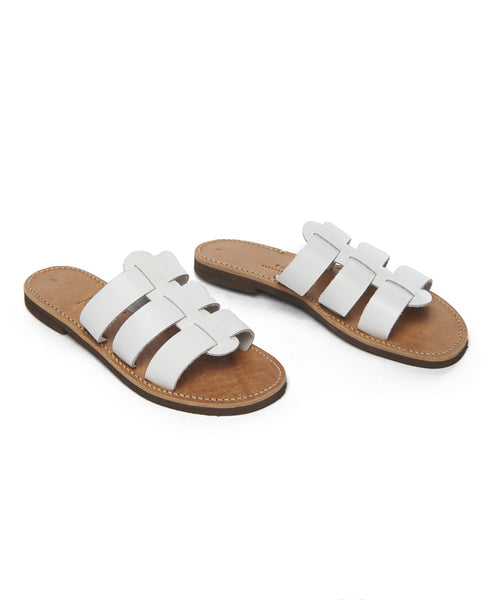 White Leather Eros Slide Sandal