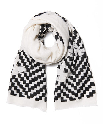 Zig Zag Black and White Cashmere Pashmina Scarf