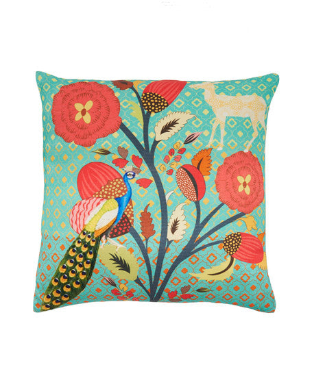 GOODEARTH, Peacock Garden Cotton Cushion