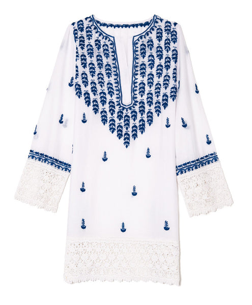 White and Blue Cotton Indian Embroidered Tunic