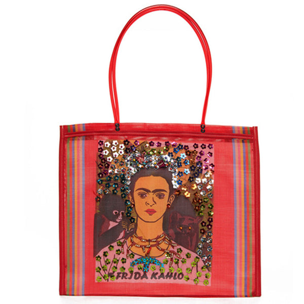SHOP LATITUDE BAZAAR, MEXICO, Red Bedazzled Frida Tote