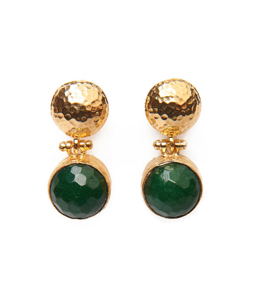 SHOP LATITUDE BAZAAR, ISTANBUL, Emerald Semi Precious Stone Farhat Earrings